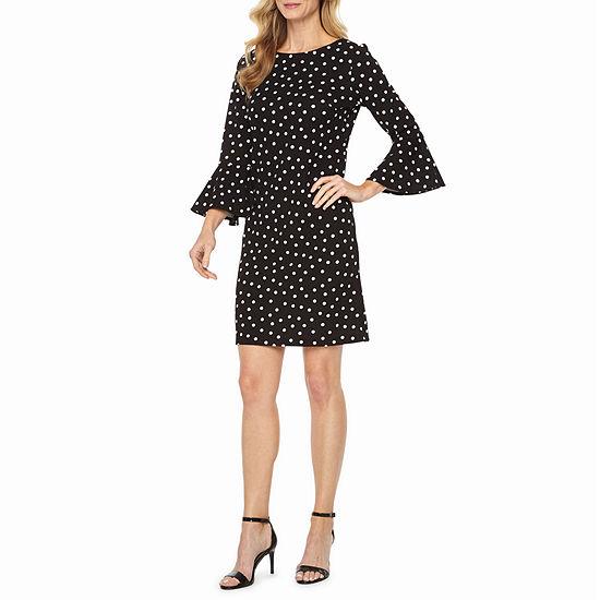 Liz Claiborne 3/4 Bell Sleeve Dots Sheath Dress