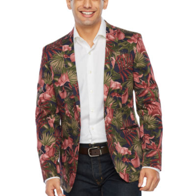JF J.Ferrar Burgundy Palm Slim Fit Sport Coat