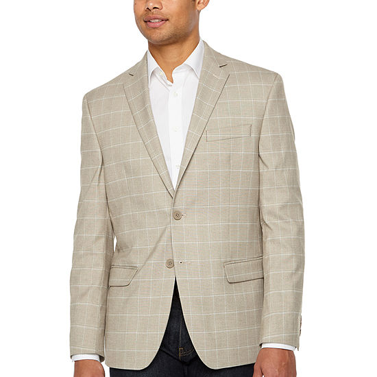 Collection by Michael Strahan Tan Plaid Classic Fit Sport Coat