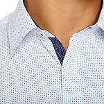 Society Of Threads Slim Fit Dot Print Hybrid Comfort Stretch Short Sleeve Shirt