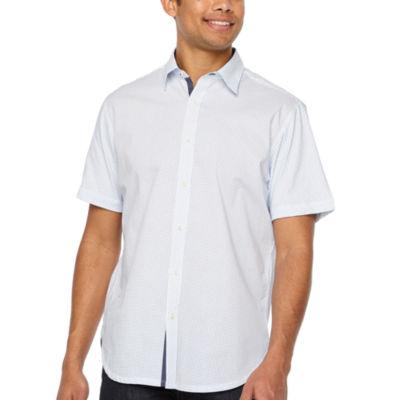 Society Of Threads Slim Fit Dot Print Hybrid Comfort Stretch Short Sleeve Shirt