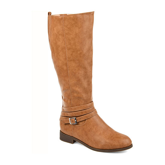 Journee Collection Womens Ivie Wide Calf Stacked Heel Zip Riding Boots