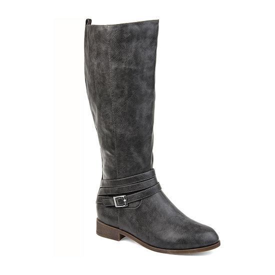 Journee Collection Womens Ivie Wide Calf Stacked Heel Zip Riding Boots