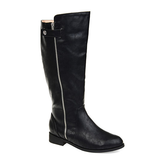 Journee Collection Womens Kasim Stacked Heel Zip Riding Boots