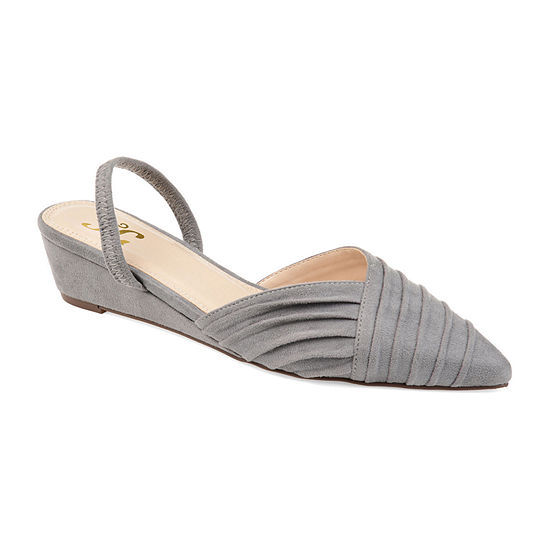 Journee Collection Womens Kato Pumps Slip-on Pointed Toe Wedge Heel