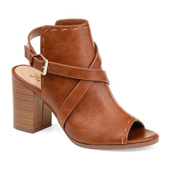 Journee Collection Womens Theda Stacked Heel Buckle Booties