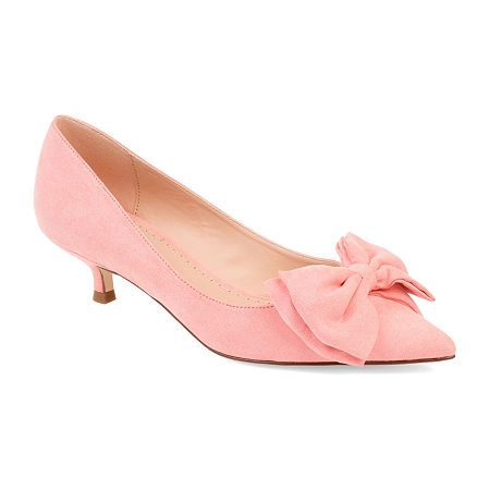 Rockabilly Shoes- Heels, Pumps, Boots, Flats Journee Collection Womens Orana Pumps Slip-on Pointed Toe Kitten Heel 6 12 Medium Pink $52.49 AT vintagedancer.com