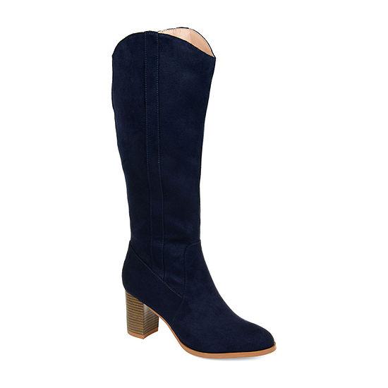 Journee Collection Womens Parrish Extra Wide Calf Dress Stacked Heel Zip Boots