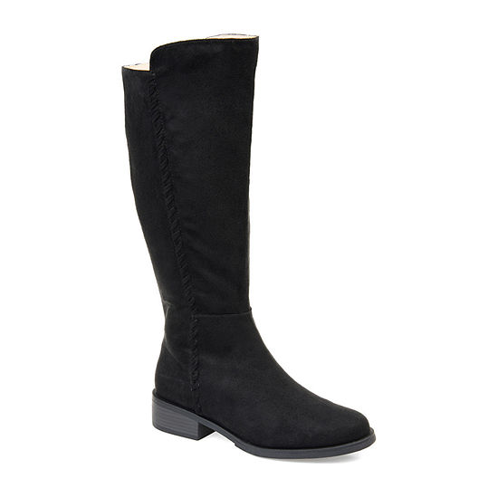 Journee Collection Womens Blakely Wide Calf Stacked Heel Zip Riding Boots