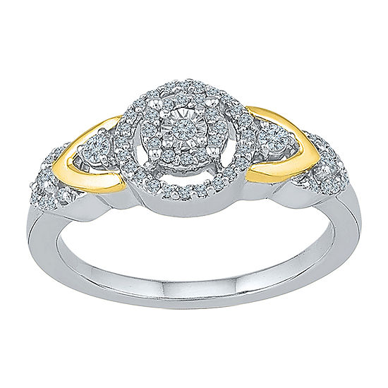 Promise My Love Womens 1/4 CT. T.W. Genuine White Diamond 10K Gold Sterling Silver Round Promise Ring
