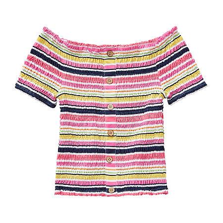 Knit Works Smocked Little & Big Girls Straight Neck Short Sleeve Blouse, X-large (16) , Pink