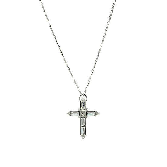1928 Religious Jewelry 28 Inch Figaro Cross Pendant Necklace