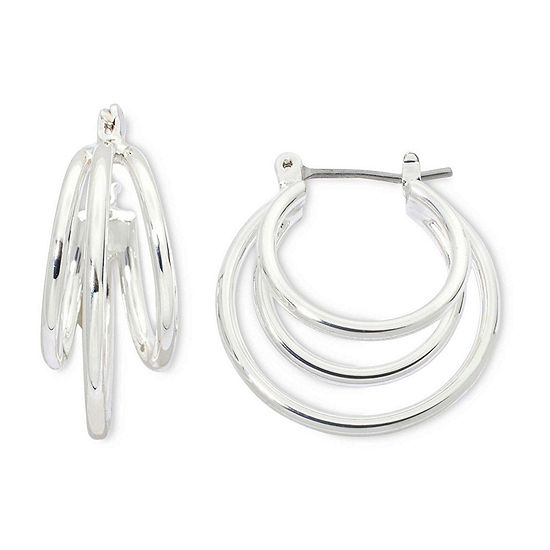 Sensitive Ears Silver-Tone Double-Hoop Earrings