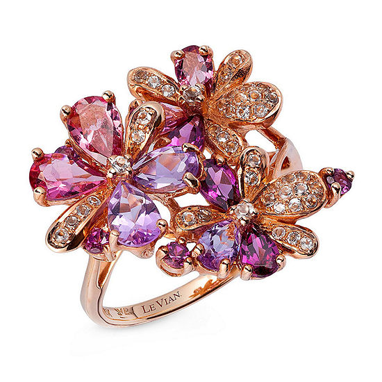 Le Vian Grand Sample Sale™ Ring featuring Grape Amethyst™,  Passion Fruit Tourmaline™, Raspberry Rhodolite®, Multicolor Semiprecious, & Vanilla Topaz™ set in 14K Strawberry Gold®