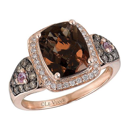 Le Vian Grand Sample Sale™ Ring featuring Chocolate Quartz®,  Bubble Gum Pink Sapphire™, Chocolate Diamonds®, & Vanilla Diamonds® set in 14K Strawberry Gold®