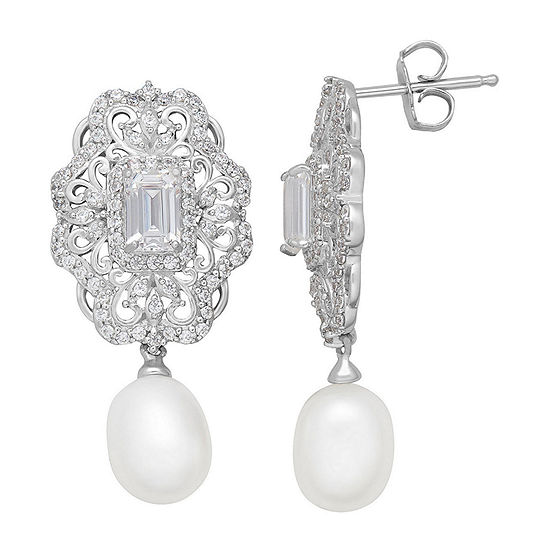 Sofia Sofia Genuine White Sterling Silver Drop Earrings