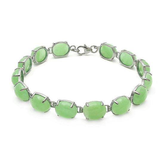 Green Jade Sterling Silver Bracelet
