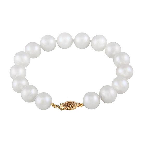 White Cultured Freshwater Pearl 14K Gold Beaded Bracelet