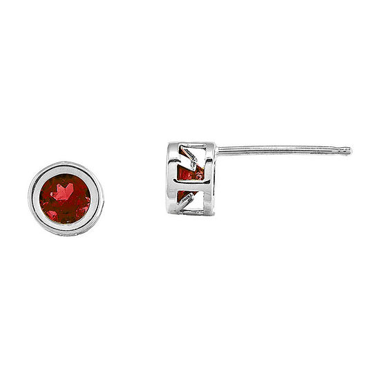 Lab-Created Ruby 14K White Gold Stud Earrings