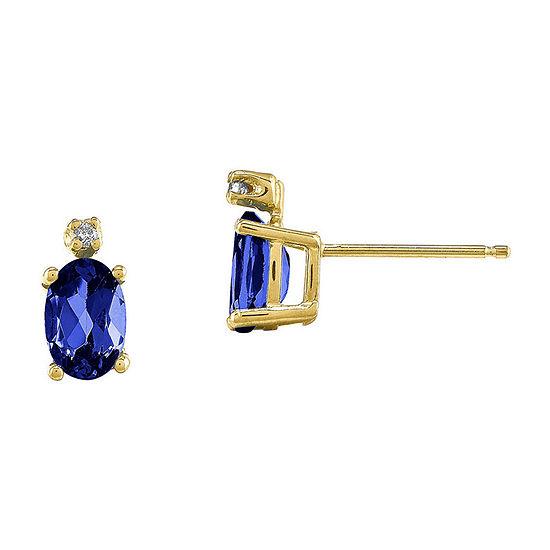 Genuine Blue Sapphire Diamond-Accent 14K Yellow Gold Earrings