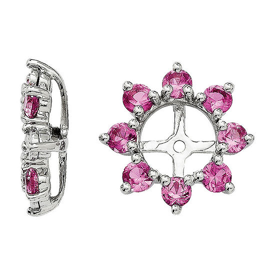 Lab-Created Pink Sapphire Sterling Silver Earring Jackets
