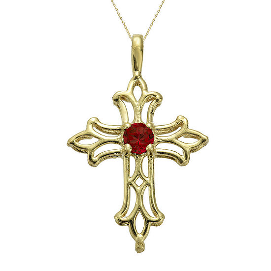 Lab-Created Ruby 10K Yellow Gold Cross Pendant Necklace