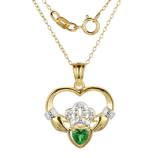 Heart-Shaped Genuine Emerald and Diamond-Accent Claddagh Pendant Necklace