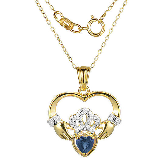 Heart-Shaped Genuine Blue Sapphire and Diamond-Accent Claddagh Pendant Necklace