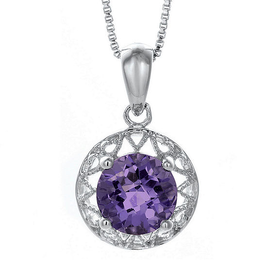 Genuine Amethyst Filigree Sterling Silver Pendant Necklace
