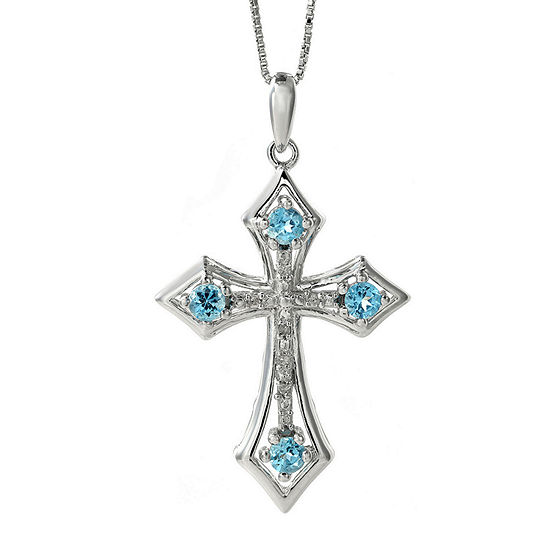 Genuine Blue Topaz and Diamond-Accent Sterling Silver Cross Pendant Necklace