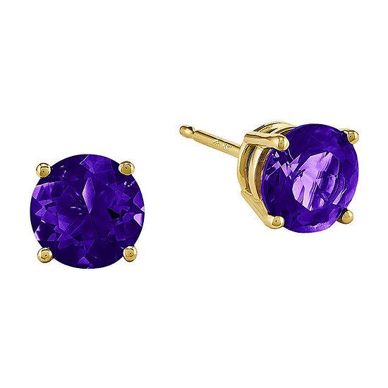 Round Genuine Amethyst 14K Yellow Gold Earrings