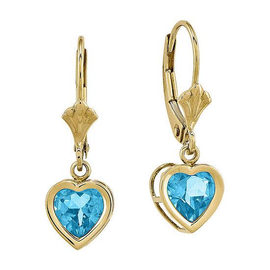 Heart-Shaped Genuine Blue Topaz 14K Yellow Gold Leverback Earrings