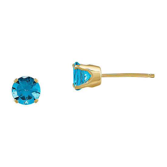 5mm Genuine Swiss Blue Topaz 14K Yellow Gold Stud Earrings
