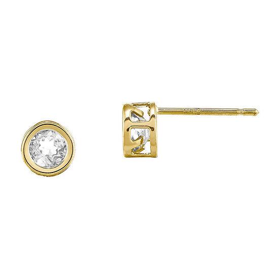 Genuine White Topaz 14K Yellow Gold Stud Earrings