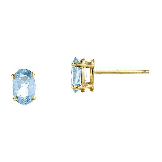 Genuine Aquamarine 14K Yellow Gold Stud Earrings