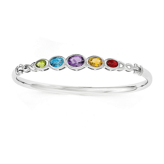 Multi-Gemstone Sterling Silver Bangle Bracelet