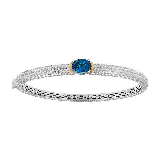 Genuine London Blue Topaz Sterling Silver Bangle Bracelet