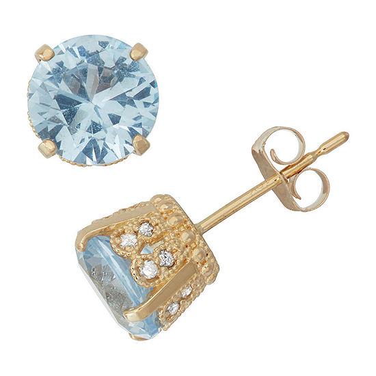 Lab Created Aquamarine And 1/6C.T. T.W. Diamond 10K Yellow Gold Earrings