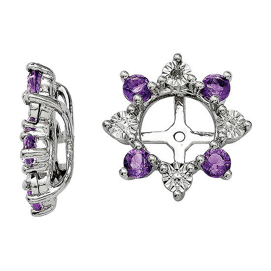Diamond Accent & Genuine Amethyst Sterling Silver Earring Jackets