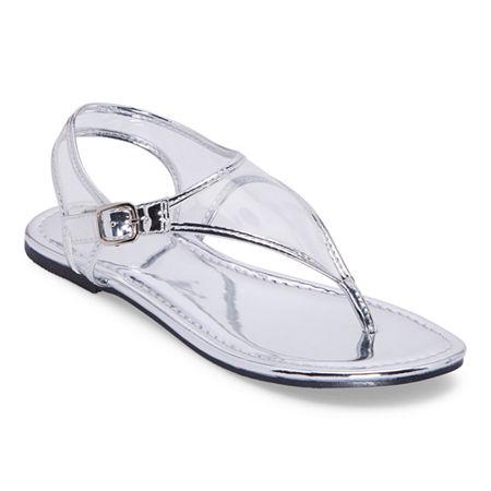 Vintage Sandals | Wedges, Espadrilles – 30s, 40s, 50s, 60s, 70s Mixit Womens Slate T-Strap Flat Sandals 11 Medium Silver $14.99 AT vintagedancer.com