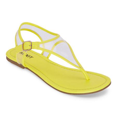 Vintage Sandals | Wedges, Espadrilles – 30s, 40s, 50s, 60s, 70s Mixit Womens Slate T-Strap Flat Sandals 7 Medium Yellow $19.99 AT vintagedancer.com
