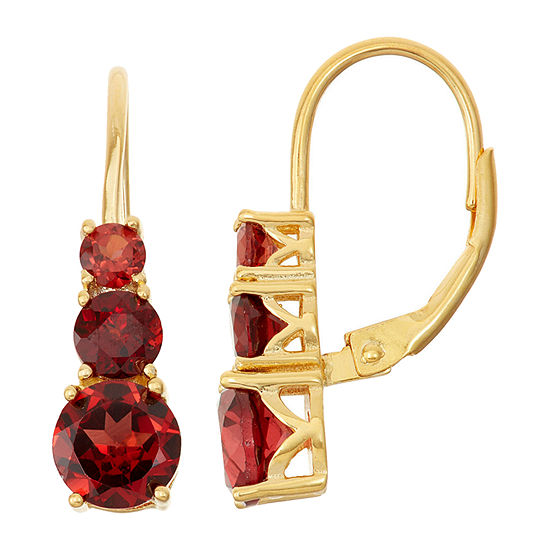 Genuine Garnet 14K Gold Over Silver Leverback Earrings