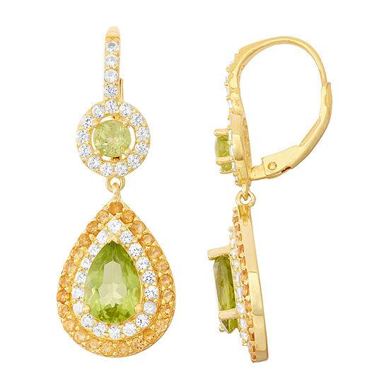 Genuine Peridot & Citrine 14K Gold Over Silver Leverback Earrings