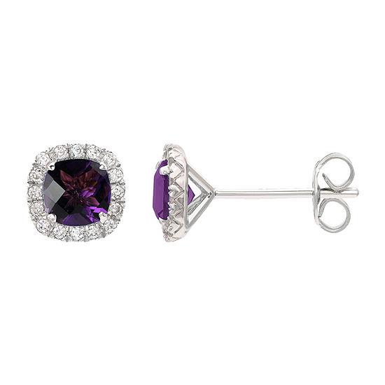 Genuine Purple Amethyst Sterling Silver 1/4 Inch Stud Earrings