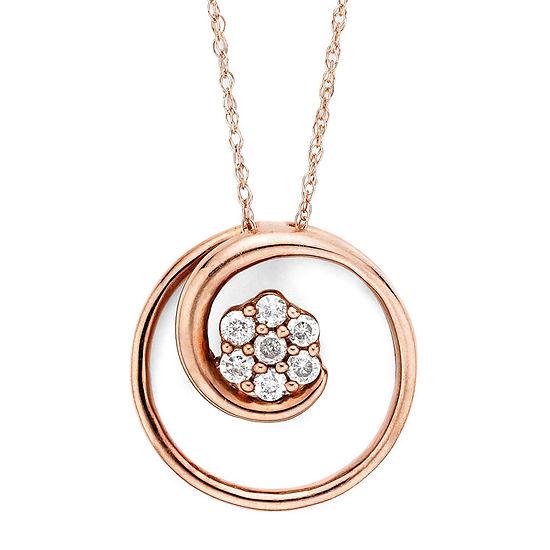 diamond blossom 1/6 CT. T.W. Diamond 10K Rose Gold Swirl Pendant Necklace