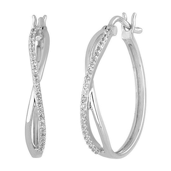 1/4 CT. T.W. Diamond 10K White Gold X-Style Hoop Earrings