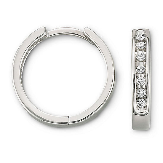 1/6 CT. T.W. Diamond 10K White Gold Hoop Earrings