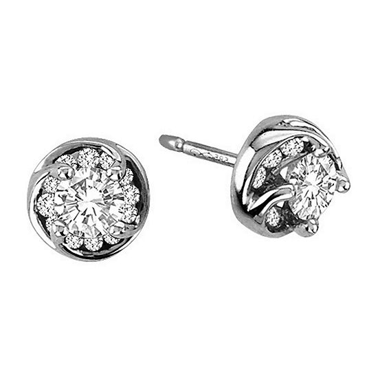 ½ CT. T.W. Diamond Stud Earrings in 14K White Gold