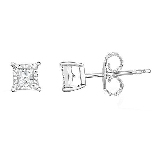 TruMiracle® 1/4 CT. T.W. Princess White Diamond 10K Gold Stud Earrings