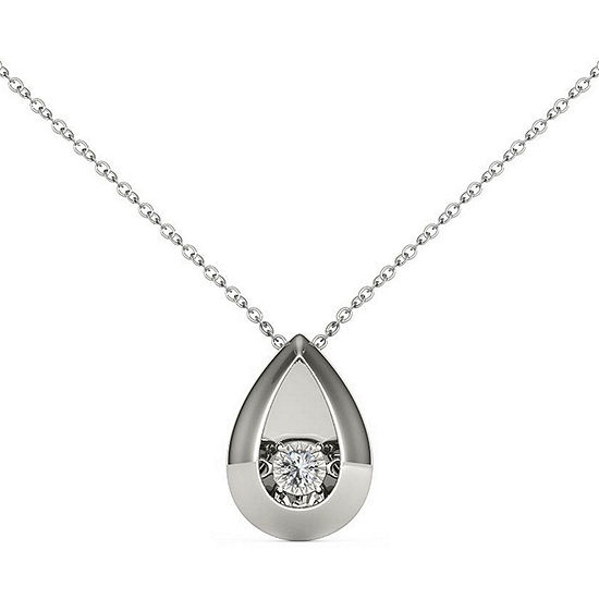 Love in Motion Womens Diamond Accent Genuine White Diamond Sterling Silver Pendant